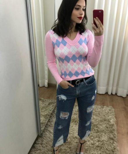 fernandaramosstore blusa manga longa tricot escocesa copia 1