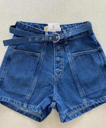 fernandaramosstore short jeans com cinto e botoes encapados