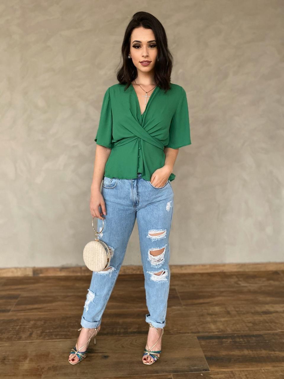 fernandaramosstore blusa meia manga com franzido e botoes
